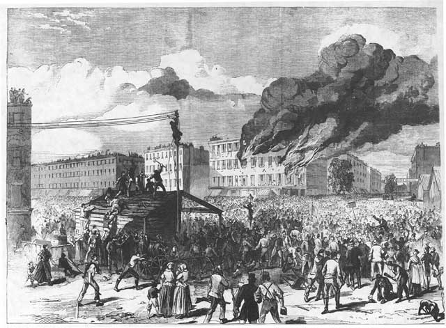 The Riots in New York: The Mob Burning the Provost Marshall's Office, July 13, 1863