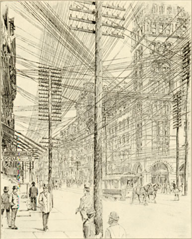 Overhead Telephone and Telegraph Wires in Broadway, 1890