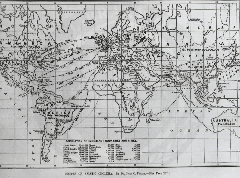 Map of Routes of Asiatic Cholera